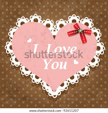 Vintage valentine sweetheart lace design - stock vector