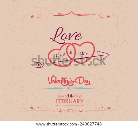 vintage valentines day greeting card - stock vector