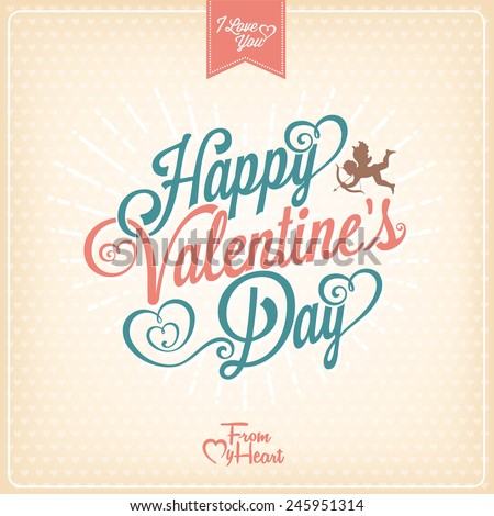 Vintage Valentines Day Typographical Card - stock vector