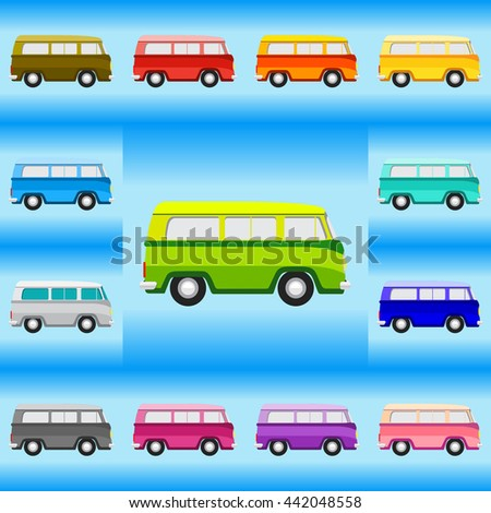 Vintage Van Set Icon. Classic Car Illustrator