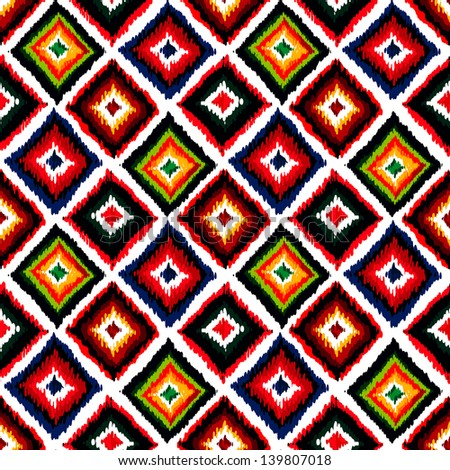 Vintage vector abstract seamless ikat pattern. Colorful seamless vintage background. - stock vector