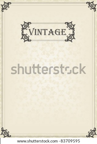 Vintage vector background for book cover or card - stock vector