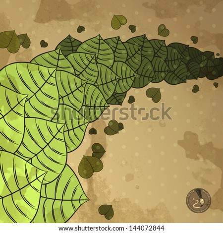 Vintage vector background with leaves on the dirty paper