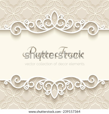 Vintage vector background with paper border decoration, divider, header, ornamental frame template, eps10 - stock vector
