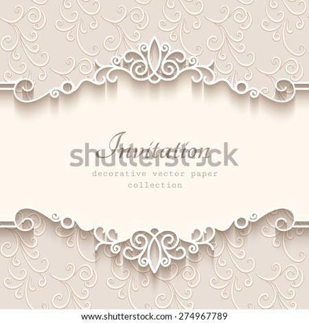 Vintage vector background paper border decoration stock vector vintage vector background with paper border decoration divider header ornamental frame template junglespirit Gallery