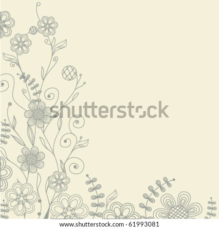 Vintage vector backgrownd with hand drawn flowers - stock vector