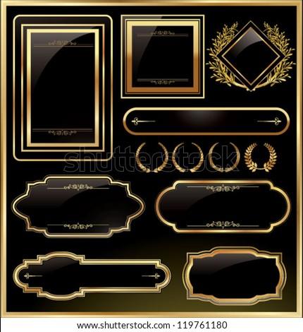 Vintage vector black gold frame label - stock vector