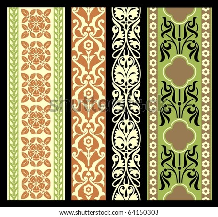 Vintage vector  borders set - stock vector