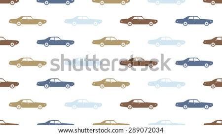 Vintage vector car seamless pattern. Color retro automobile set. Old vehicle set. Blue and brown classic machines silhouette. Transport icon and pictogram. Auto label.