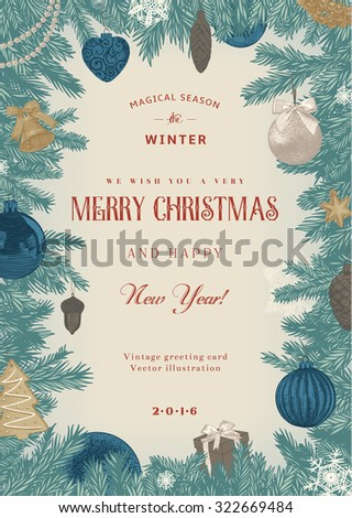 Vintage vector card. Christmas frame with blue and beige toys and decorations. - stock vector