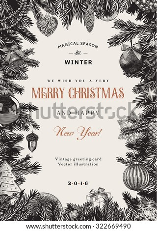 Vintage vector card. Christmas frame with toys and decorations. Black and white. - stock vector