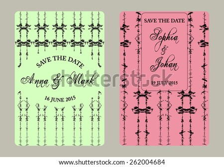 Vintage vector card templates. Elegant Save the Date or Wedding invitation card set. Can be also used for valentines day, birthday cards, baby shower, mothers day, party invitations. - stock vector