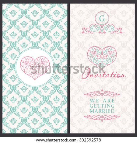 Vintage vector card templates. Wedding, married, save the date, baby, mothers day, valentines day, birthday card, invitation. Seamless pattern is background - stock vector