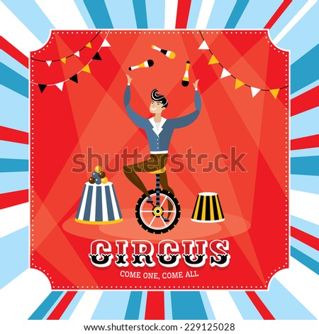 Vintage vector card with a juggler - stock vector