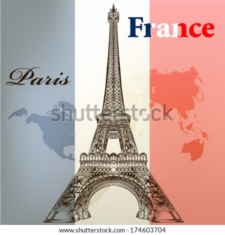 Vintage vector card with Eiffel tower on a flag of France - stock vector