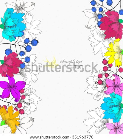 Vintage Vector Card with Hand Drawn Flowers - stock vector