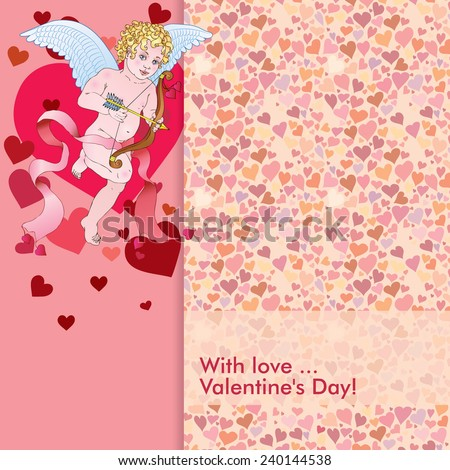 Vintage vector card with ornaments of hearts. Angel-cupid shoots from a bow. - stock vector