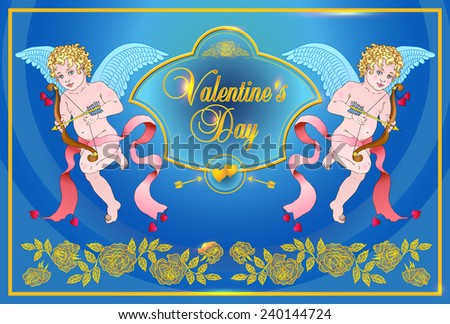 Vintage vector card with ornaments of roses. Angels-cupids shoots from a bow. - stock vector