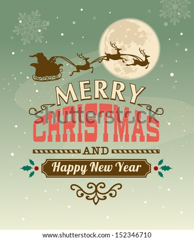 Vintage vector Christmas card with typography design - stock vector