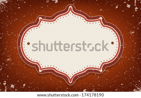 Vintage vector circus inspired frame on red background with a space for your text - stock vector