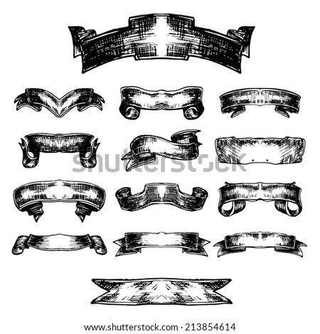 Vintage vector collection of banners and ribbons - stock vector