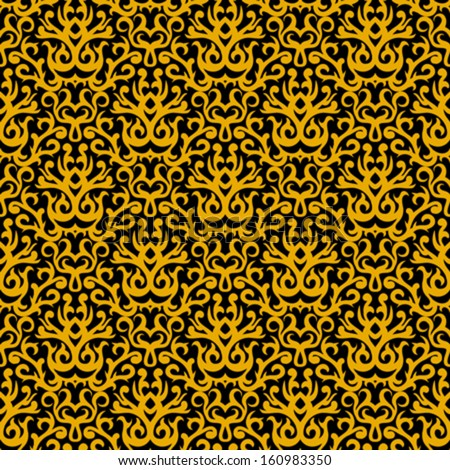 Vintage vector damask pattern with abstract shapes in gold and black.  Texture for web, print, wallpaper, fall winter fashion, Christmas background, wedding gift wrapping paper or holiday home decor - stock vector