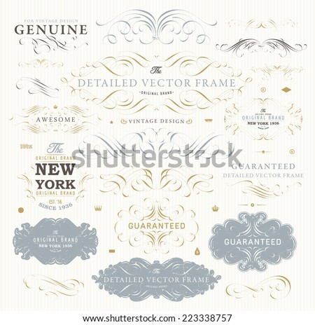 Vintage Vector Design Elements Collection. Retro Style Typographic Labels, Frames, Tags, Stamps and Emblems Set. Floral Patterns and Ornaments for Invitations. Modern Colors Version.