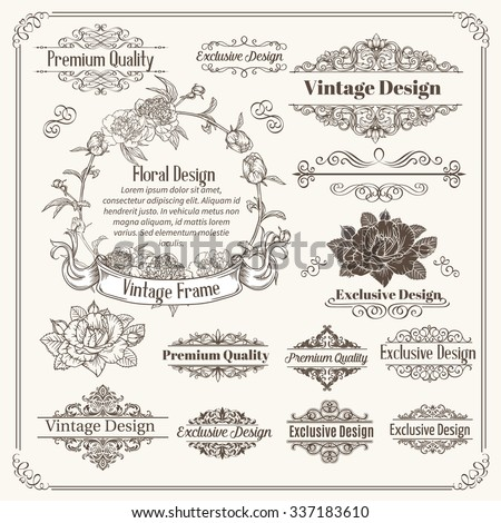 Vintage Vector Design Elements Collection. Typographic Labels, Floral Frames, Stamps Set for Scrapbooking, Invitation.  - stock vector