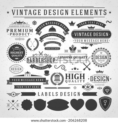 Vintage vector design elements. Retro style golden typographic labels, tags, badges, stamps, arrows and emblems set.  - stock vector