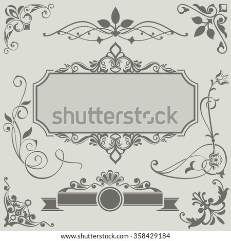 Vintage vector design elements with retro frame. Set 35. - stock vector