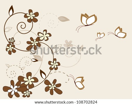 Vintage vector floral background with flowers and butterfly