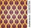 Vintage Vector Floral Damask Brocade Background Pattern - stock vector