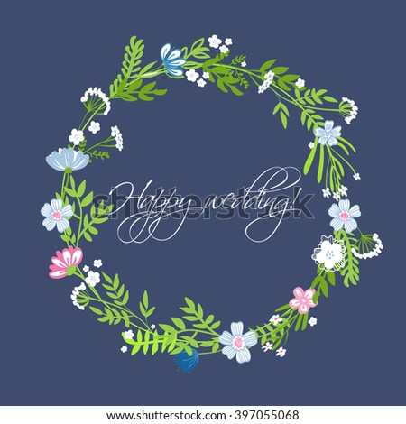 vintage vector frame with floral elements. summer flower and leaf elements. wedding wreath - stock vector