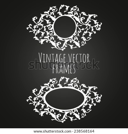 Vintage vector frames on chalkboard background. Templates for wedding invitation.  - stock vector