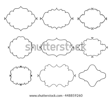 Vintage vector frames on white background. Isolated black shapes for text collection. - stock vector