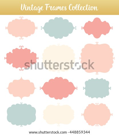Vintage vector frames on white background. Isolated decorate shapes for text collection. - stock vector