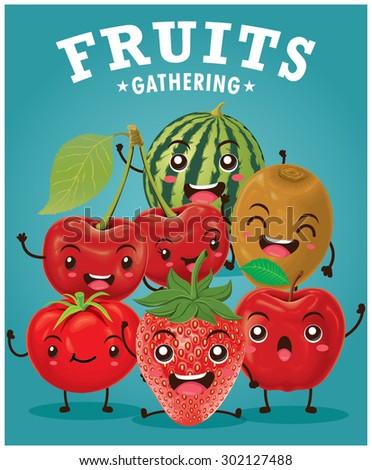 Vintage vector fruits cartoon character illustration  - stock vector