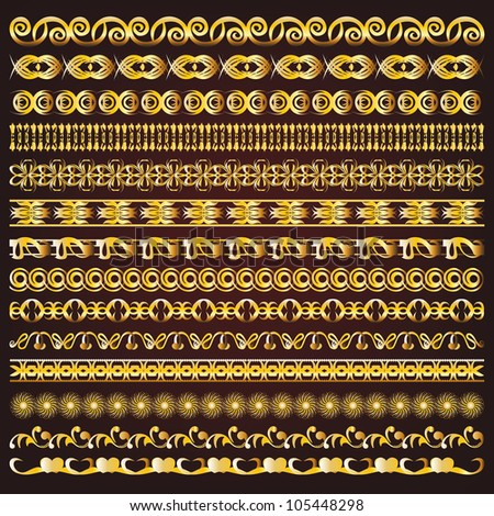 Vintage vector golden borders and ornaments