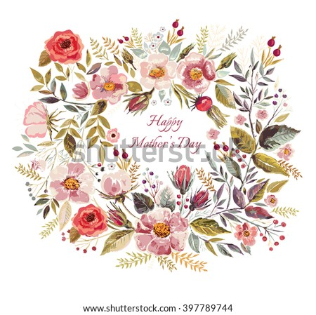 Vintage vector greeting card with floral wreath - stock vector