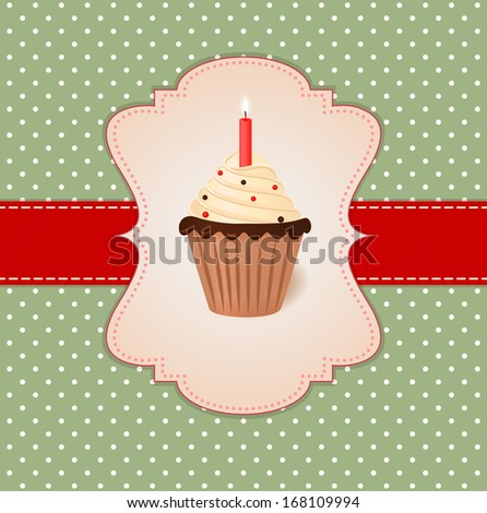 Vintage vector greetings card. Cream cake with candle. - stock vector