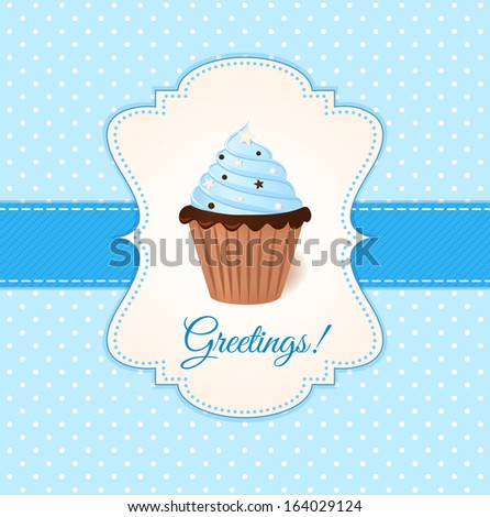 Vintage vector greetings card with blue cream cake.  - stock vector