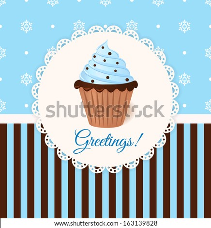 Vintage vector greetings card with cream cake. Blue snowflake background.  - stock vector