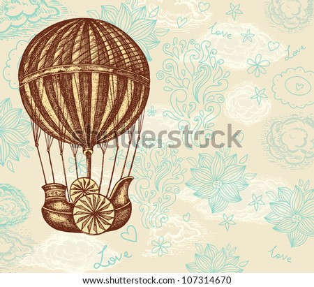 Vintage vector hand drawing balloon with clouds - stock vector