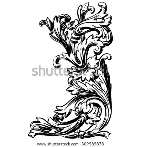 Vintage Vector hand-drawn illustration with detail of baroque ornament - stock vector