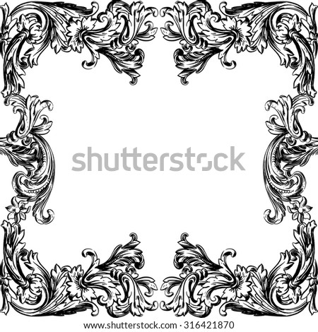 Vintage Vector hand-drawn illustration with detail of baroque ornament. Frame. Abstract Floral Background. Flowers. - stock vector