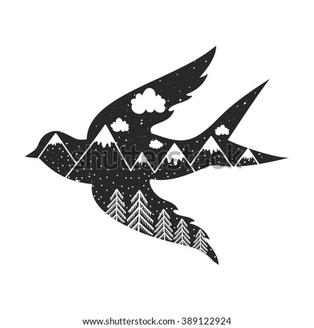 Vintage vector hand drawn typography poster with black bird silhouette, forest and mountains. Inspirational and motivational illustration with animal and nature - stock vector