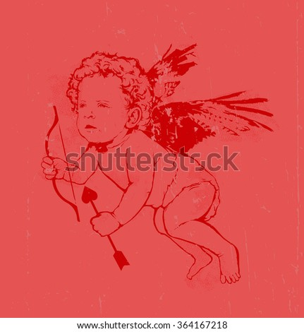 Vintage vector illustratio - Angel or cupid pink  - stock vector