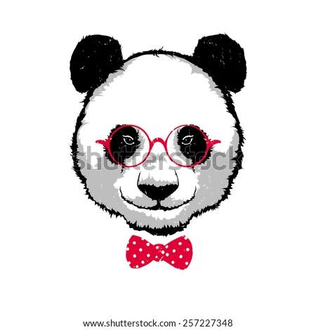 Vintage Vector illustration - Hipster panda bear in the glasses - stock vector