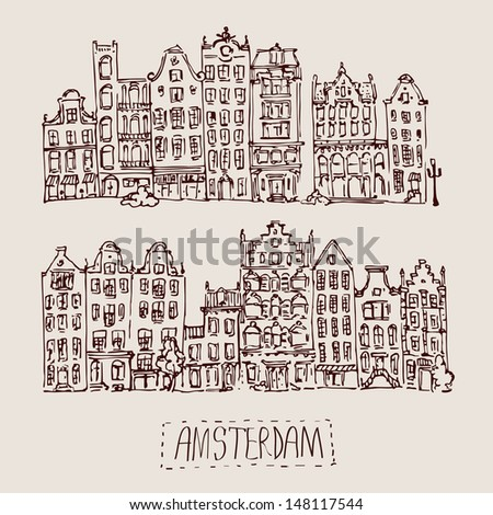 Vintage vector illustration of amsterdam