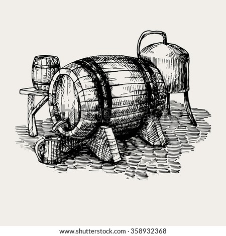 vintage vector illustration of barrel for beer of other alcoholic beverages with mug, table and other elements